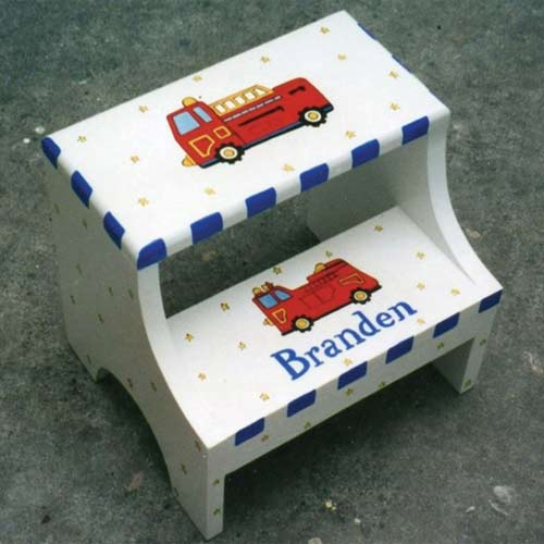 Fantastic Personalized Fire Truck Two Step Stool Bralicious Painted Fabric Chair Ideas Braliciousco