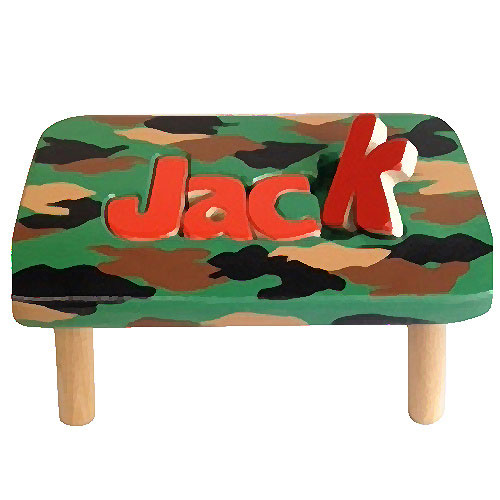 Personalized Camo 1 Name Puzzle Stool Personalized Kids