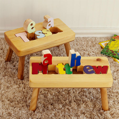 natural personalized wooden name puzzle kids step stool ababy