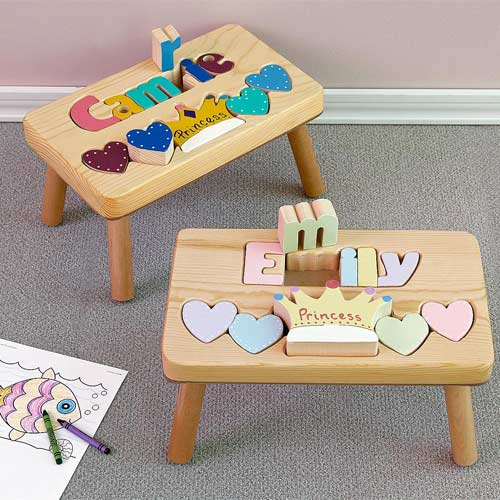 Personalized Name Puzzle Stool Step Stool For Toddlers