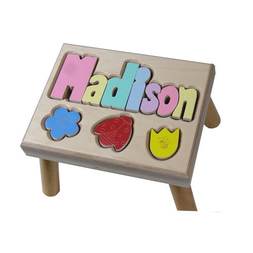 Flowers Puzzle Name Stool Personalized Kids Step Stools