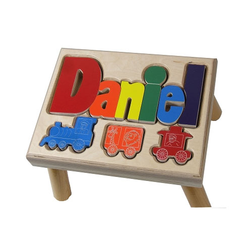Trains Puzzle Name Stool Personalized Kids Step Stools