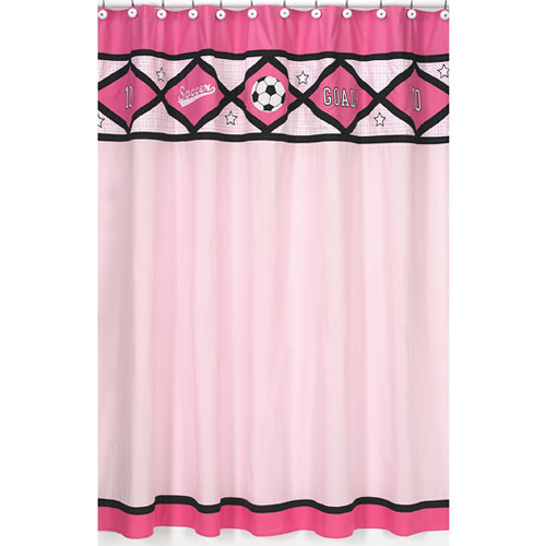 Soccer Pink Shower Curtain Curtains