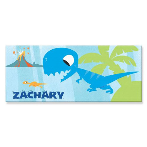 Personalized Blue Rectangle Dinosaur Canvas Art Fantasy