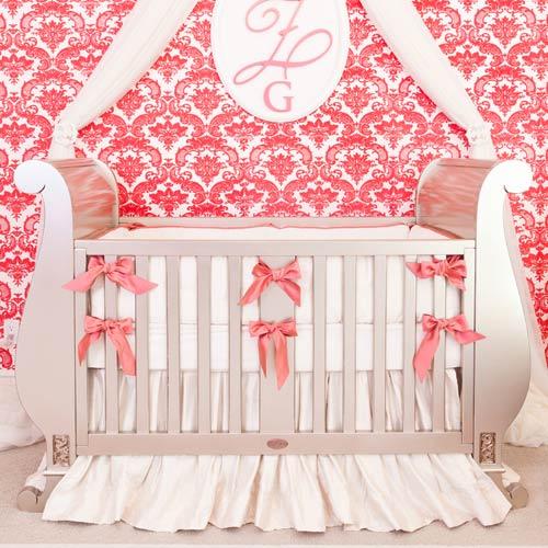 Coral Bows Ivory Silk Crib Bedding