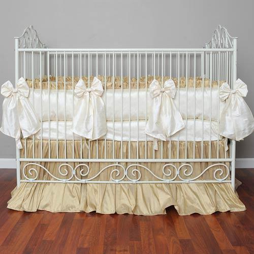 Cream Silk Crib Bedding