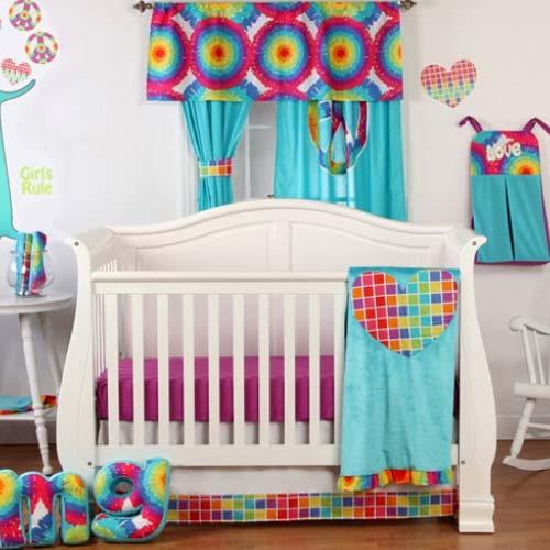 Terrific Tie Dye Crib Bedding, Tie Dye Nursery Bedding
