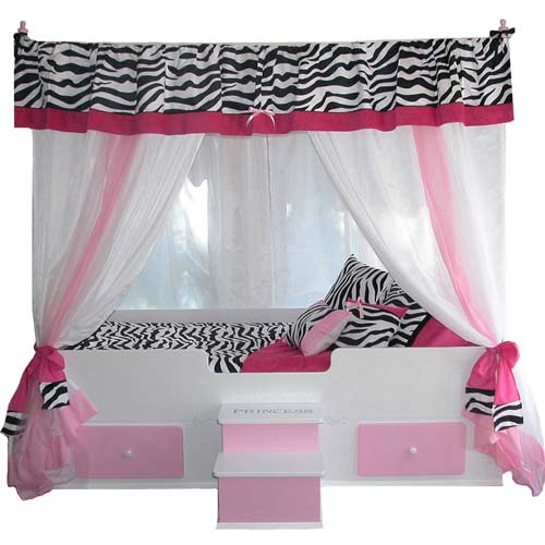 Princess Canopy Bed Pink Girls Bed Zebra Print Ababy Com