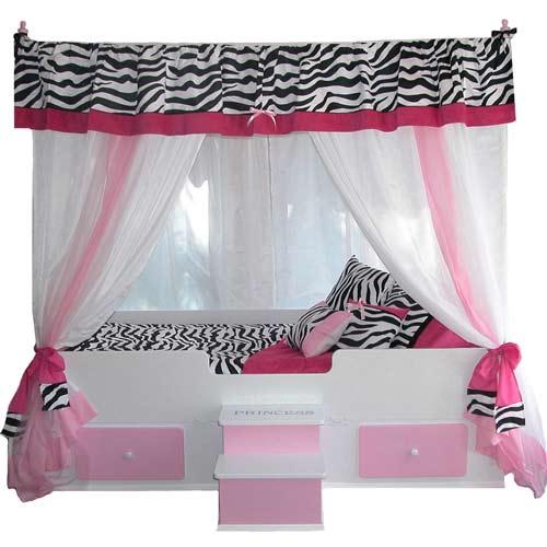 Pink Zebra Princess Canopy Bed  sc 1 st  aBaby.com & Princess Canopy Bed | Pink Girls Bed | Zebra Print | aBaby.com