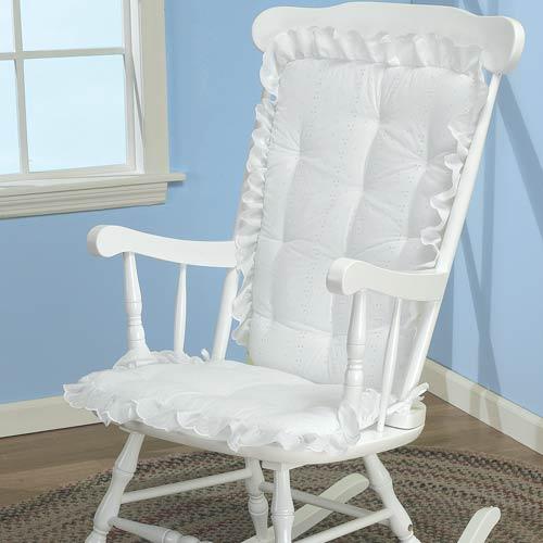 Bon White Eyelet Adult Rocking Chair Cushion