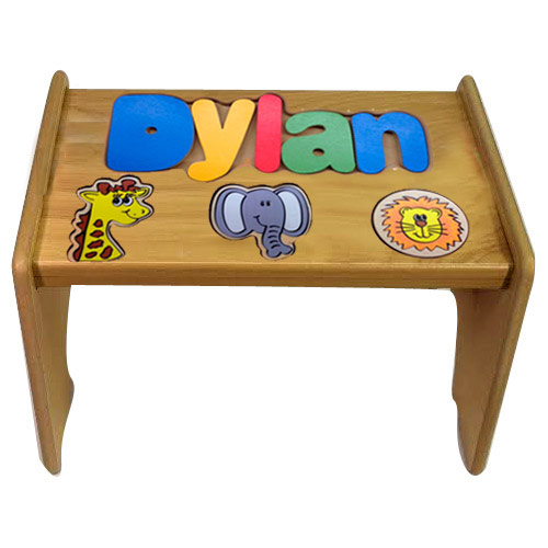 Personalized Jungle Wooden Puzzle Stool Personalized Kids