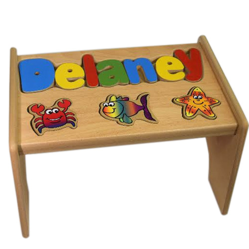 Personalized Sea Creatures Puzzle Stool Kids Step Stools