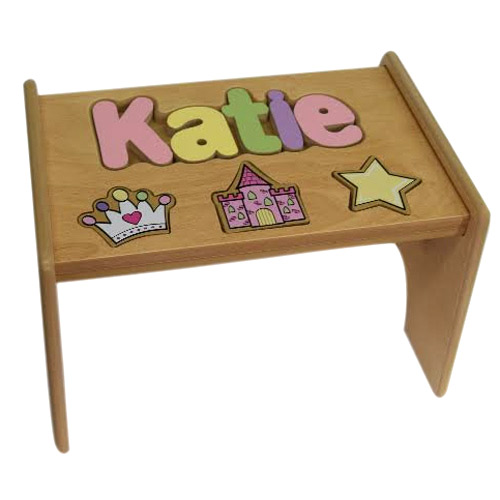 Natural Personalized Princess Wooden Puzzle Step Stool Ababy