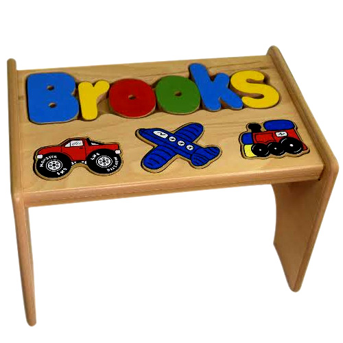 Personalized Transportation Wooden Puzzle Kids Step Stool