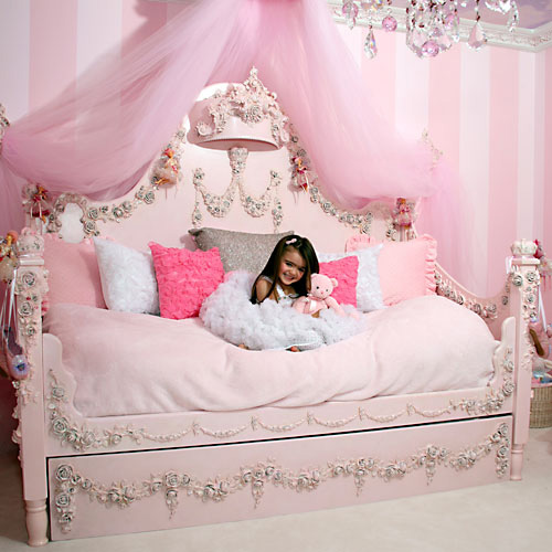 Princess Canopy Bed in Pink and White by Maxtrix Kids (10)