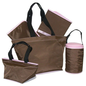 Chocolate Five Piece Diaper Bag Set