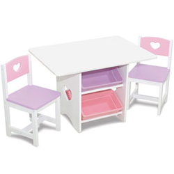 Heart Table and Chair Set with Pastel Bins