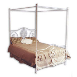 Sleek Iron Canopy Bed