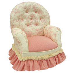 Pink Toile Queen Anne Chair
