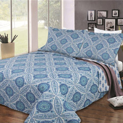 Blue Geometric Shapes 2 Piece Quilt Set