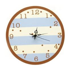 Blue 'n Chocolate Striped Wall Clock