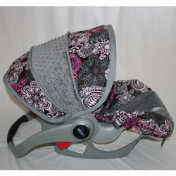 Pink 'n Gray Paisely Infant Car Seat Cover