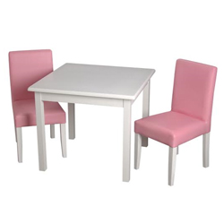 Childrens Square Table and Upholstered Chair Set