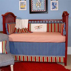 Embroidered Air Show Crib Bedding