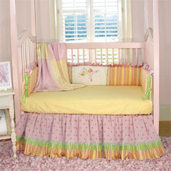 Embroidered Ballerina Butterfly Crib Bedding