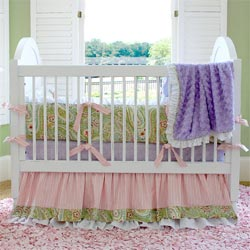 Embroidered Flowers Crib Bedding