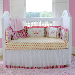 Embroidered Little Lady Crib Bedding