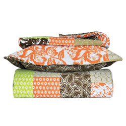 Green and Orange Full/Queen Floral Quilt Set