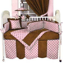 Chocolate 'n Dots Crib Bedding Set