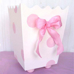 Pink Polka Dot Waste Basket