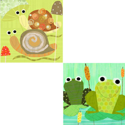Friendly Frogs & Swirly Snails Stretched Art