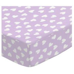 Pastel Hearts Cotton Porta Crib Sheet