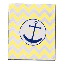 Personalized Gavin Yellow Anchor Chevron Fleece Blanket