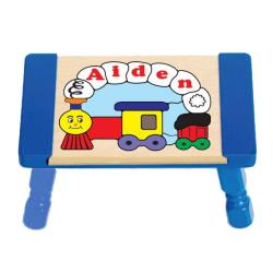 Personalized Train Puzzle Stool