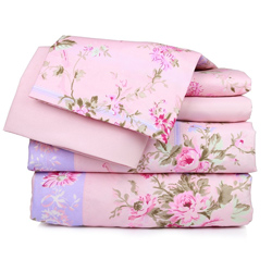 Pink Floral Printed Sheet Set