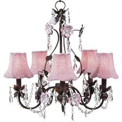 Pink Glass Bead Pink 'n Mocha Flower Garden Chandelier
