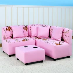 Pink Mossy Oak Sectional Seating Set