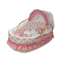 Pink and Sage Dot Moses Basket