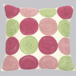 Pink 'n Green Circles Throw Pillow