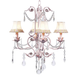 Pink 'n Green Flower Border 4 Arm Valentino Chandelier