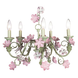 Pink 'n Green Leaf and Flower 5 Arm Chandelier