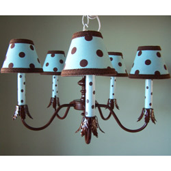 Blue Brown Dottie Chandelier