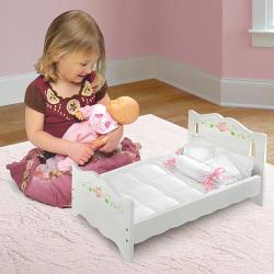 White Rose Doll Bed