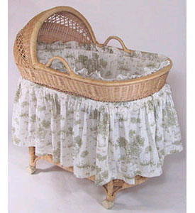 vintage toile bassinet bedding - Bassinet Bedding