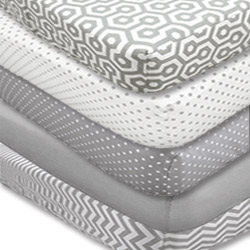 Grey Print Mix Crib Sheet Set