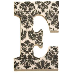 Black and White Damask Glitter Letters